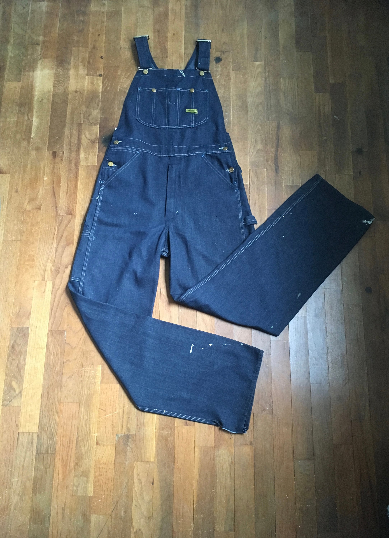 Vintage Overalls & Jumpsuits Vintage 60S Sears Tough Skins Union Made Perma Prest Dark Wash Denim Jean Bib Overalls W34 $0.00 AT vintagedancer.com