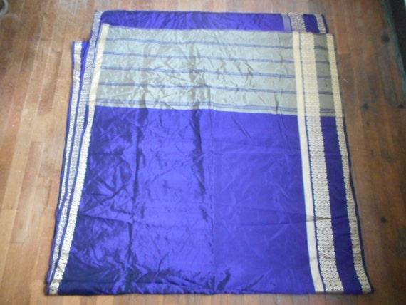 vintage indian sari shimmery purple and metallic g