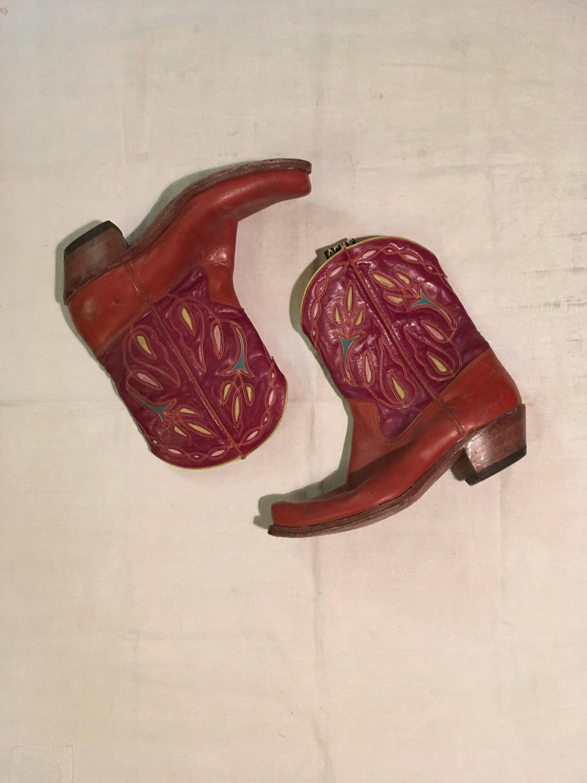 1940s Mens Ties | Wide Ties & Painted Ties Vintage 40S 1940S Acme Two Tone Peewee Cowboy Boots Size 11 D $0.00 AT vintagedancer.com