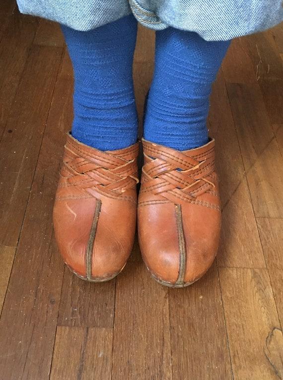 vintage 70s wooden clogs platform braided leather