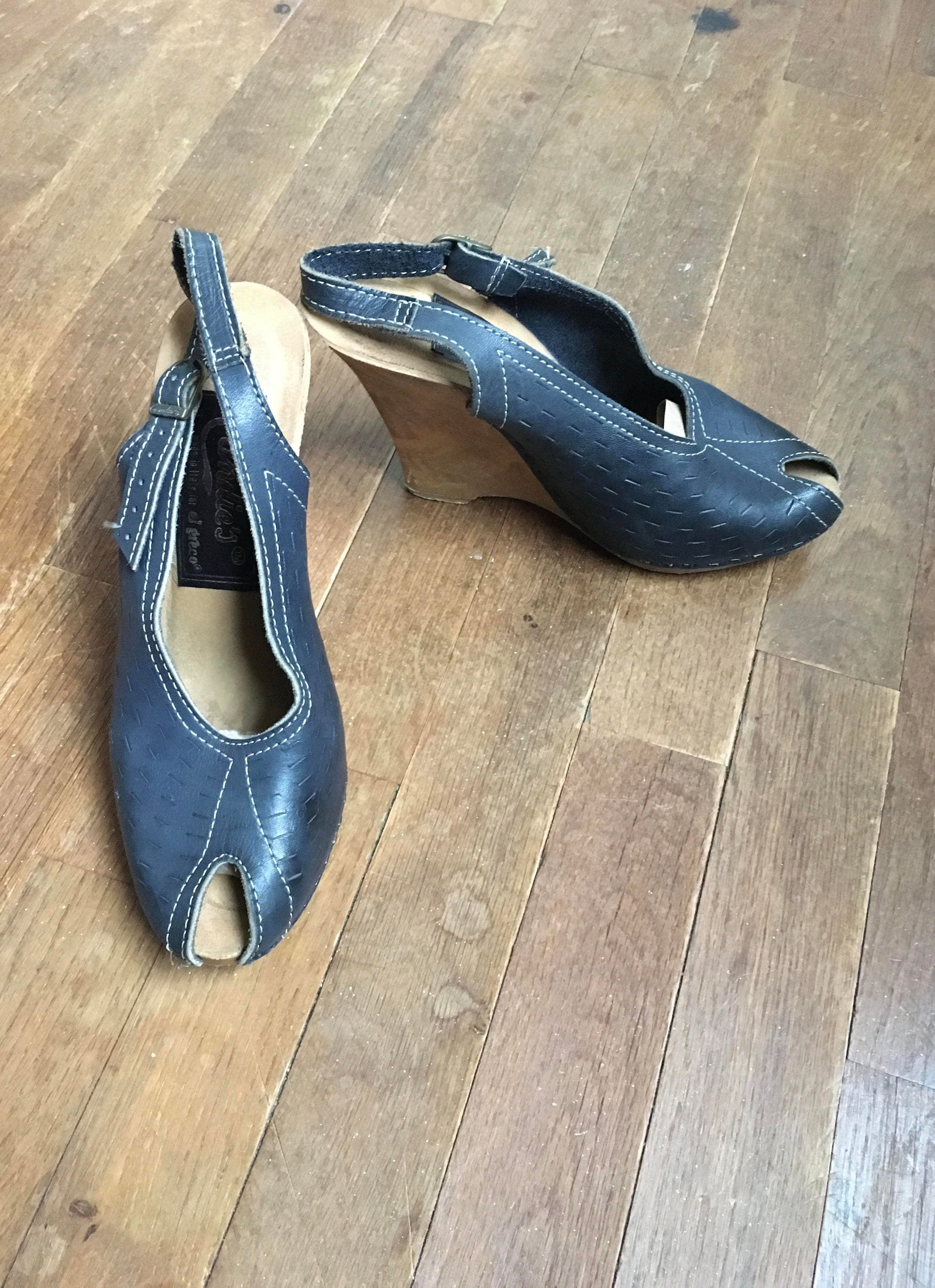 vintage 70s candies for el leather greco wooden heel blue leather el peep toe sling back womens shoes size 8 made in italy 30d84d