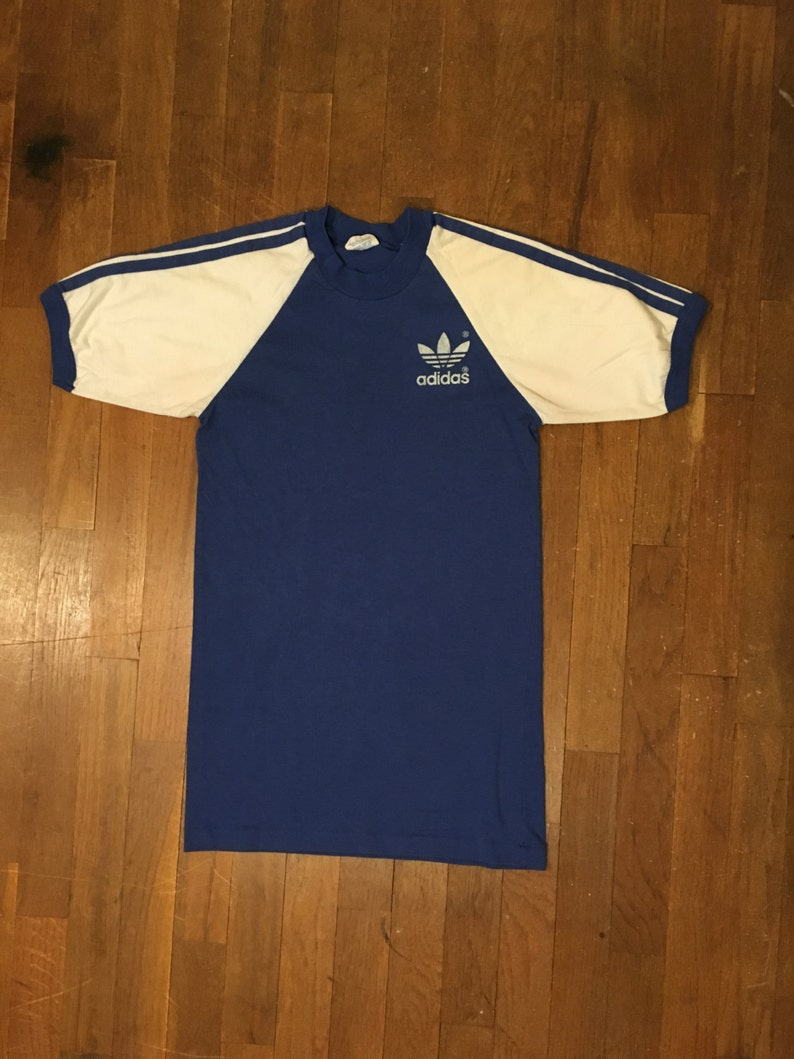 e44007bbd1ce7 vintage 80s adidas two tone 3 stripes trefoil white sleeves 50/50 raglan  blue ringer t shirt made in usa