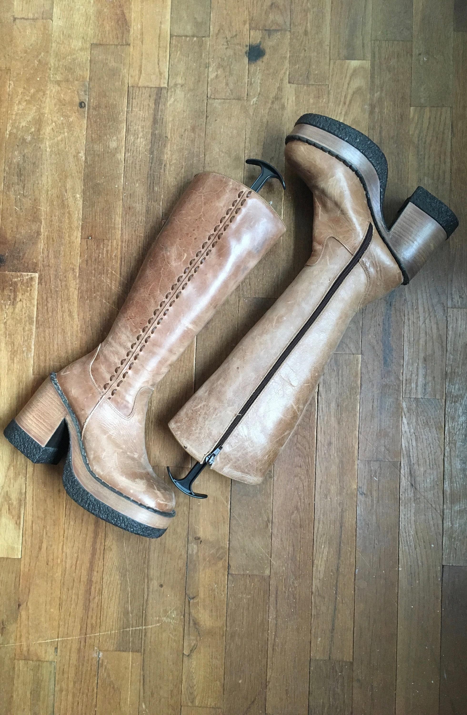 519a4d3f2f47e vintage 90s london underground side zip chunky platform boots womens shoe  size 6