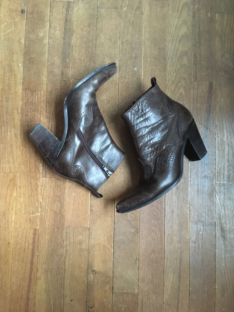63a0e49e4ec vintage 90s guess brown leather side zip western ankle boots made in spain  womens shoe size 9
