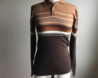 vintage 70s montgomery ward brown striped pullover collar light weave sweater korea made