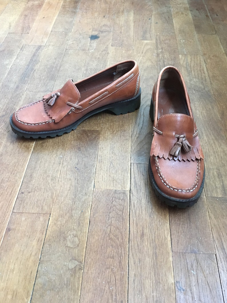 caecb3d1405e8 vintage 90s connie brown leather slip on mic toe boat tie kiltie tassel  loafers made in Brazil women's shoe size 7 1/2 M