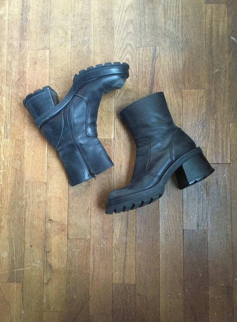 daf91f49235 vintage 90s steve madden hott black leather side zip chunky platform boots  made in brazil womens shoe size 8 B