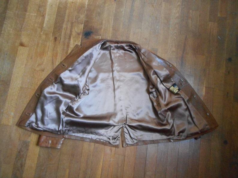 vintage 60s women/'s eros modell soft caramel brown leather double lapel bohemian troubadour vagabond raglan jacket