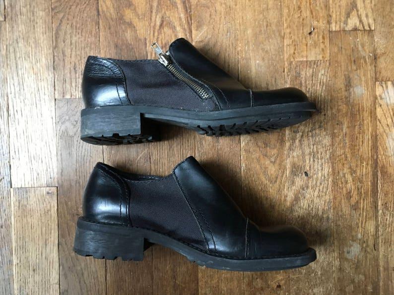 91de0fb4131 Vintage 90s esprit de corp side zip black leather chunky heel
