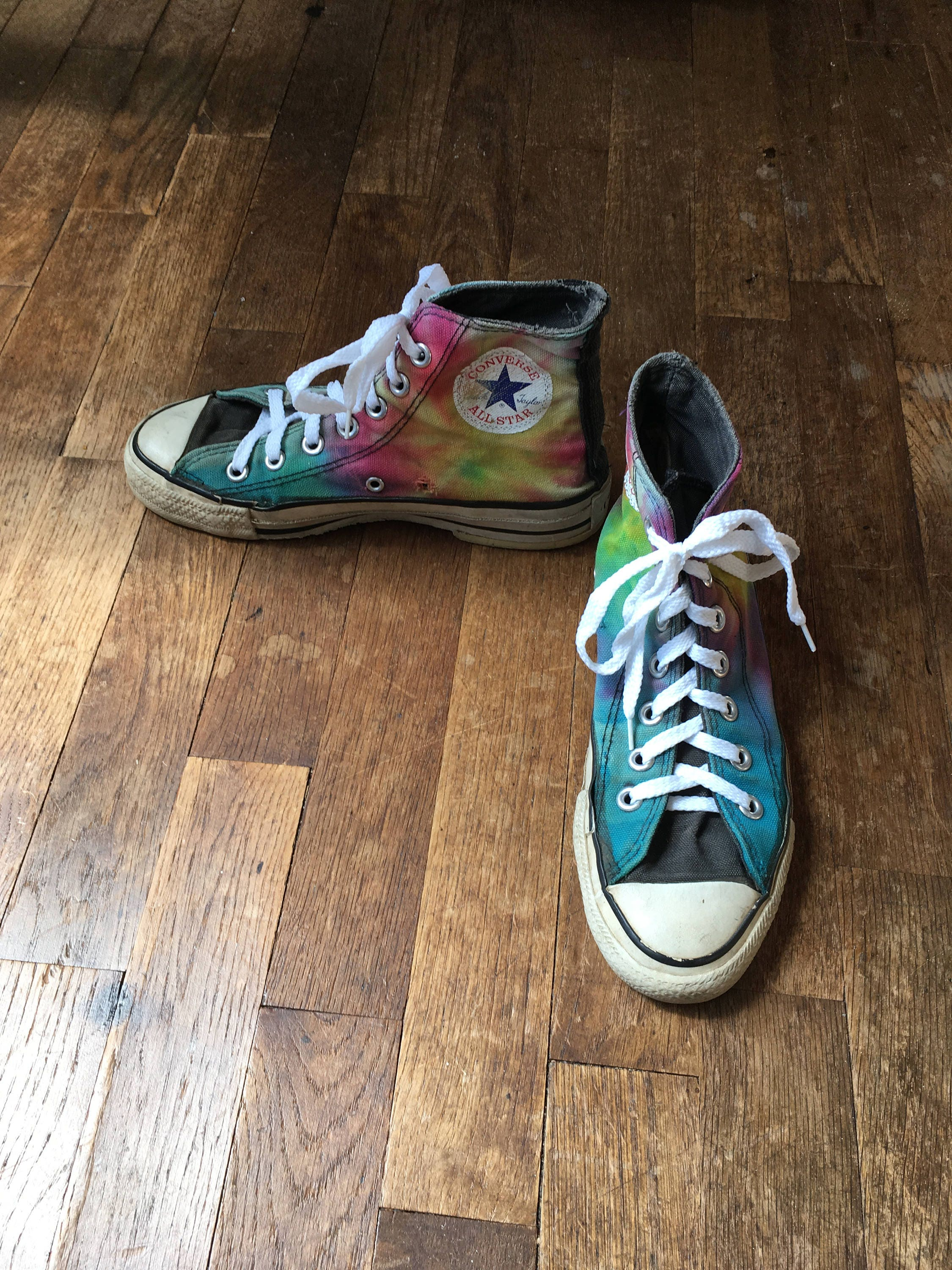 4b65e0a93d5db0 Vintage 80s converse tie dye hi tops made in usa all star