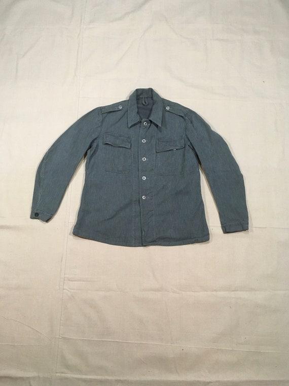 vintage 40s WWII Swiss army denim prison jacket
