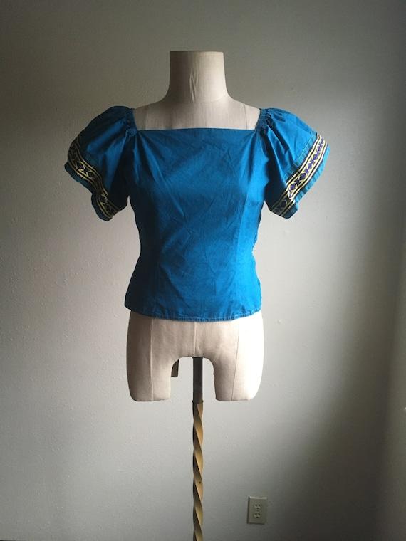 vintage 40s Mary Stevens everlasting fabrics blue