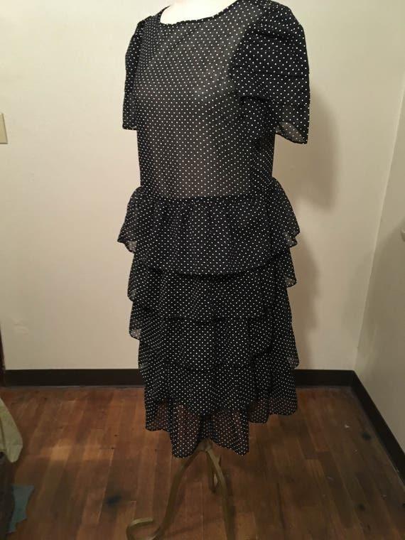 vintage 80s sears the fashion place gauze polka dot ruffle tiered black white short sleeve dress