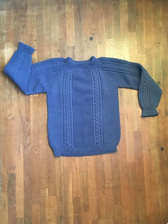 Vintage Handarbeit Wolle Zopfmuster rauchige blauen Pullover