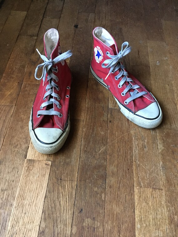 f11f8f6d18c0e9 vintage converse chuck taylor hi tops red canvas chucks made
