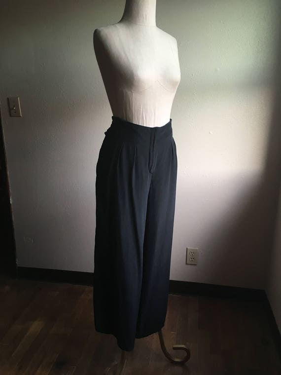 vintage 90s black silk high waist wide leg baggy palazzo pants waist 36 tzVcN