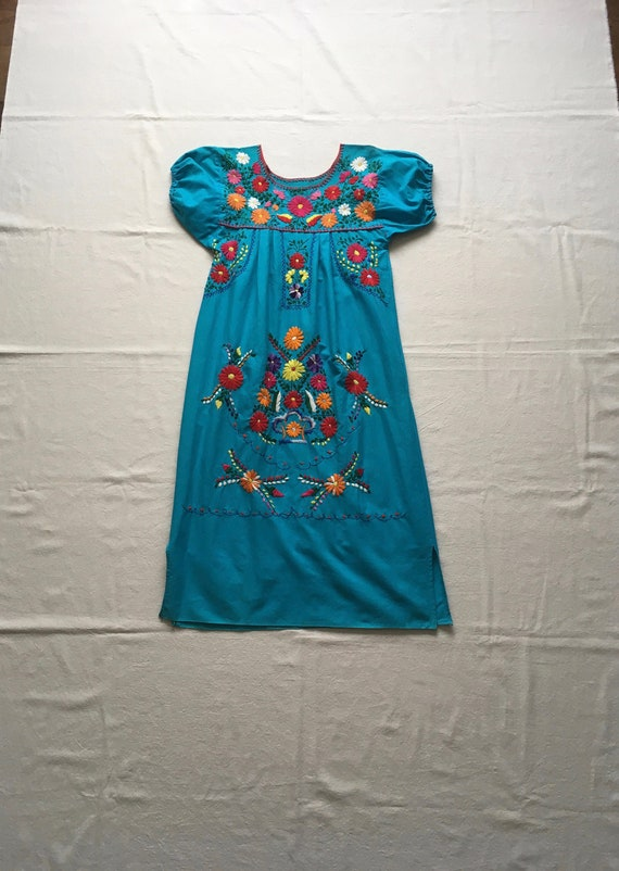 vintage handmade embroidered Mexican blue turquois