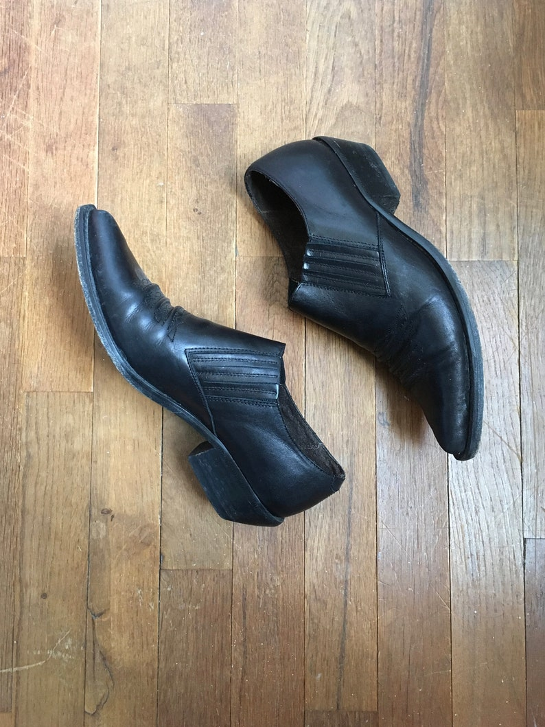 8cf67572923 vintage 80s guess by georges marciano black leather western ankle booties  made in spain womens shoe size 8 1/2 B