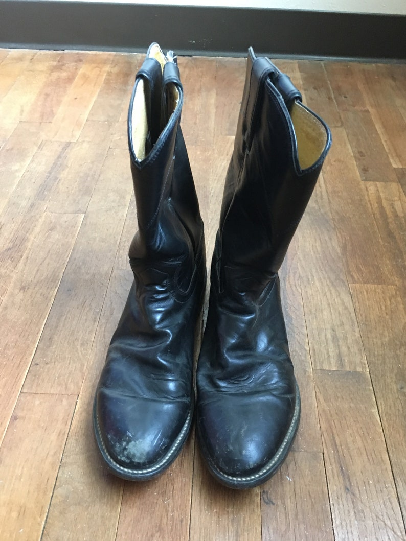 0613c5337176c vintage Justin ropers black leather pull on western riding boots made in  Mexico mens size 7