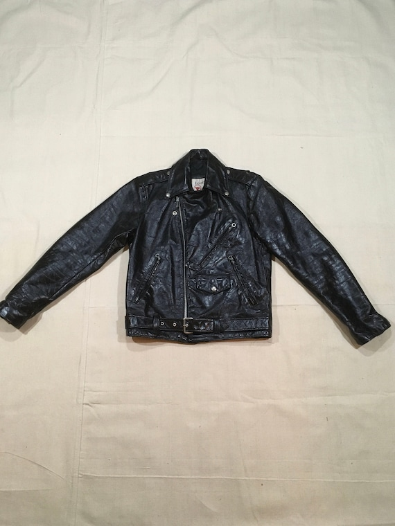 vintage 70s sears leather shoppe belted black leat
