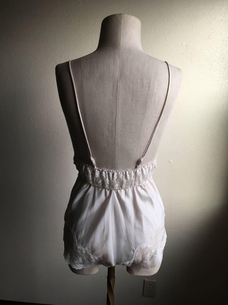 vintage 80s barbizon satin remarque lace trim v neck elastic waist back adjustable strap crotch snap teddy made in usa