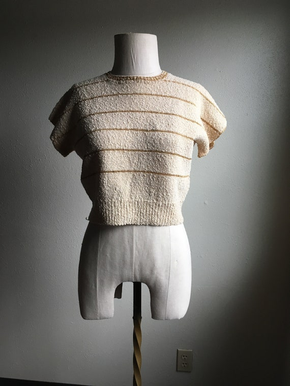 vintage 50s pullover hand knit cream gold striped