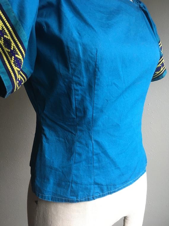 vintage 40s Mary Stevens everlasting fabrics blue… - image 4