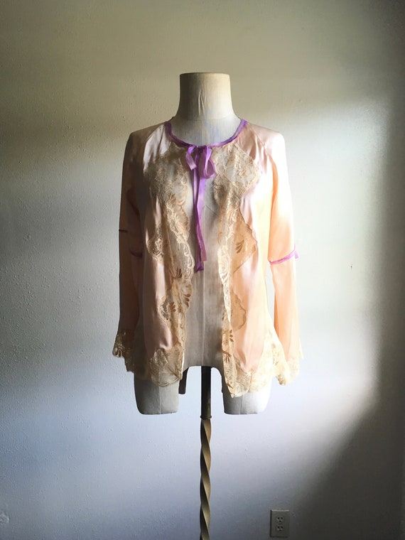 vintage 90s Anna sui blushing pink silk and lace p