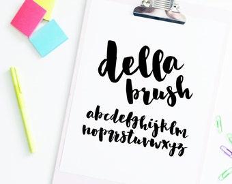 """SVG Font INSTANT DOWNLOAD """"Della Brush"""" svg, script cut file, cursive font, font svg, hand lettered font, brush font, script svg, dxf cut"""