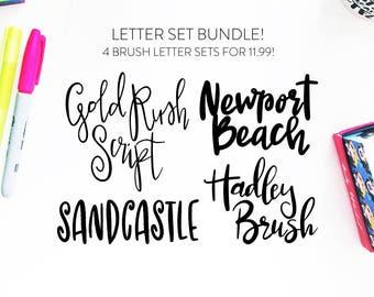 NEW!! Letter Set BUNDLE 5-INSTANT download four brush fonts in svg format, font bundle, handlettered font, brush font, script svg, font cut