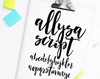 """SVG Font INSTANT DOWNLOAD """"Allysa Script"""" svg, script cut file, cursive font, font svg, hand lettered font, brush font, script svg, dxf"""