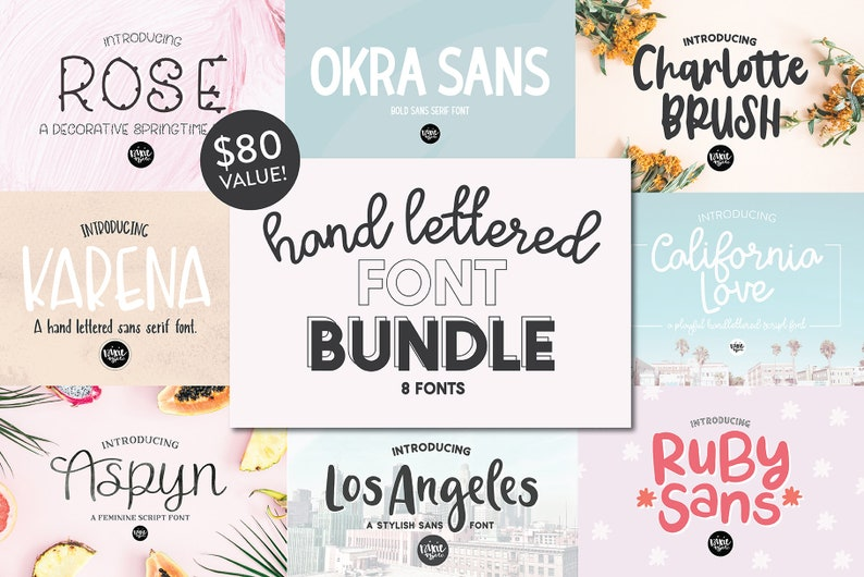 NEW!! Hand Lettered Font Bundle, installable  OTF font, cuttable font,  cursive fonts, brush script fonts, pretty fonts, font bundle, script