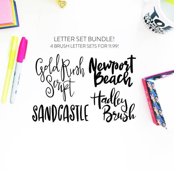new letter set bundle 5 instant download four brush fonts in etsy