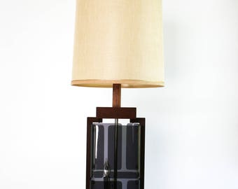 Mid Century Smoke Plexiglass Walnut Table Lamp