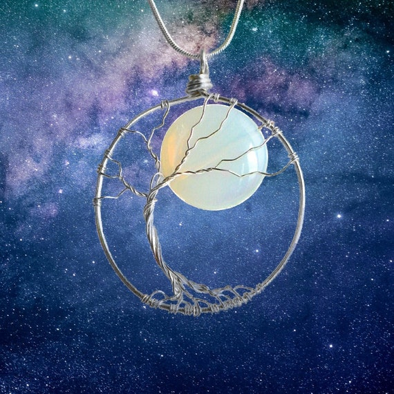 Celestial Jewelry Moon Necklace Nature Jewelry Opalite Necklace Tree of Life Pendant