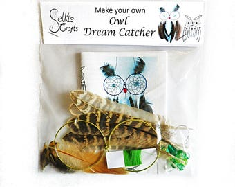 DIY Kit Owl Dream Catcher / Craft Kit / DIY dream catcher kit / Make your own dream catcher / boho dreamcatcher / how to make easter crafts