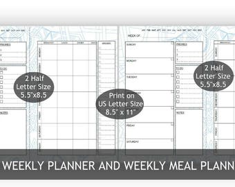 """Blue Two 5.5""""x 8.5""""/One Big Happy Planner, 2-in-1 Weekly and Weekly meal Planners,2 Layouts,mandala 22-Blue background, Weekly Meal Schedule"""