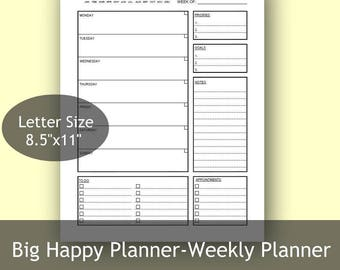 "Big Happy Weekly Planner, US Letter size 8.5"" x 11"", 2 layouts, Filofax Printable,Printable Weekly Schedule"