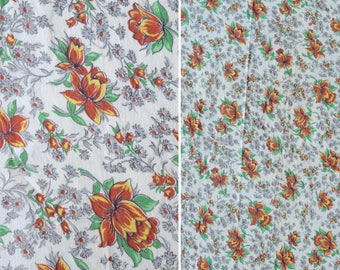 "Floral Feedsack Fabric/ 1940s 50s Vintage Floral Prairie Print Flour Sack/ Fall Colors Fabric w/ Orange Tulips/ Quilting Sewing: 43.5""x 36"""