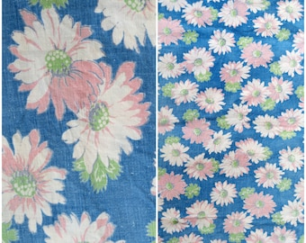 """Pink & Blue Daisy Feedsack Fabric/ 1930s 40s Vintage Floral Print Flour Sack/ Farmhouse Cottage Chic Fabric/ Quilting Sewing Craft: 33""""x 31"""""""
