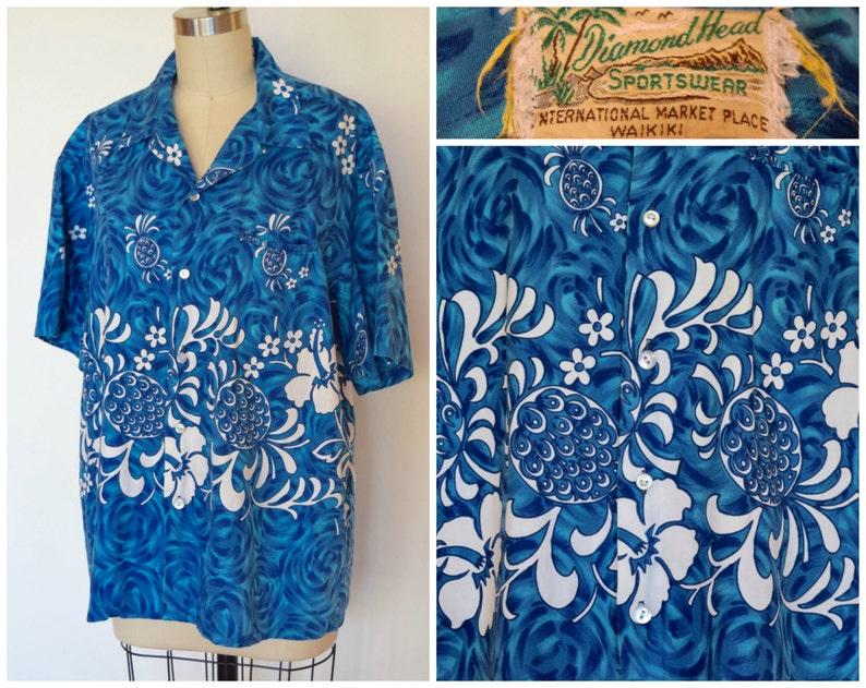 b20203d34 Vintage 1960s Blue Hawaiian Shirt/ Diamond Head Sportswear   Etsy