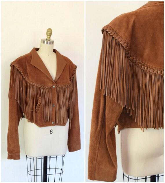 6036ef8a569 80s Vintage Leather Fringe Jacket  Brown Western Biker Jacket