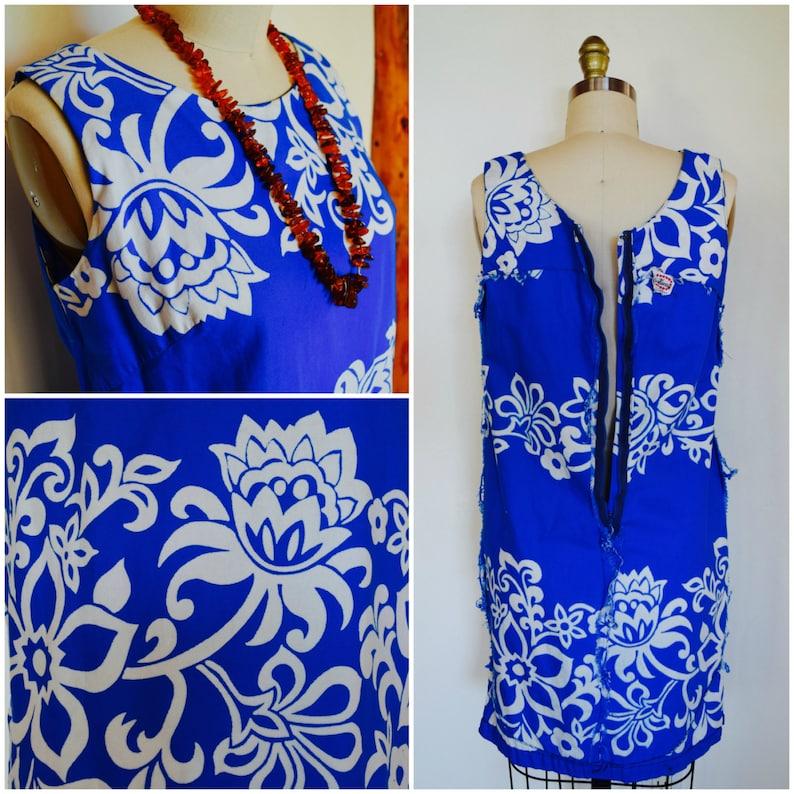 Vintage 1950s Hawaiian Dress 50s Miss Hawaii Sun Dress Tropical Blue Aloha Floral Summer Dress Beach Cover Up Kamehameha Garment Co.