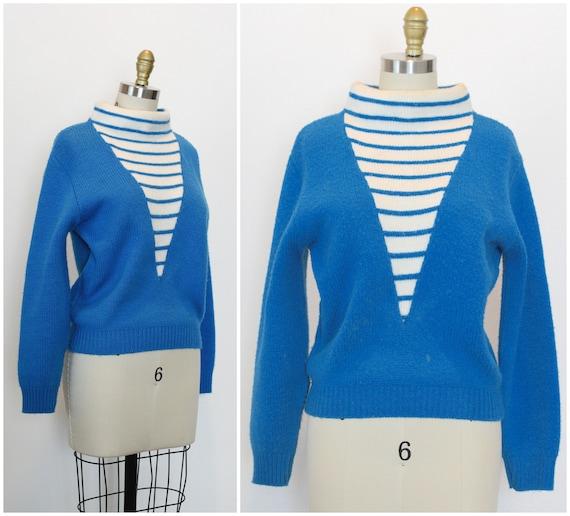 Vintage Rockabilly Sweater/ 1960s Electric Blue &