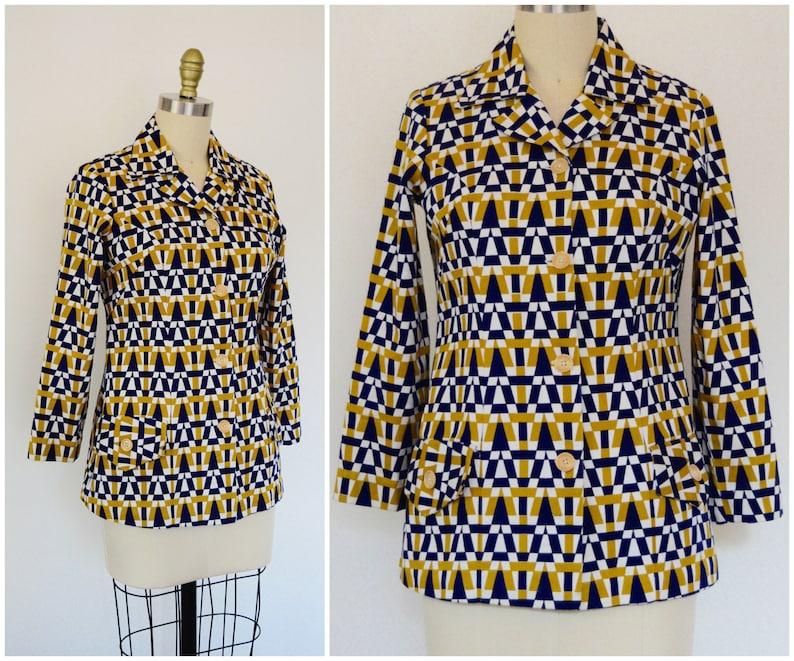 b7dc1d891 Vintage 60s 70s Mod Jacket  Midcentury Modern Geometric Print