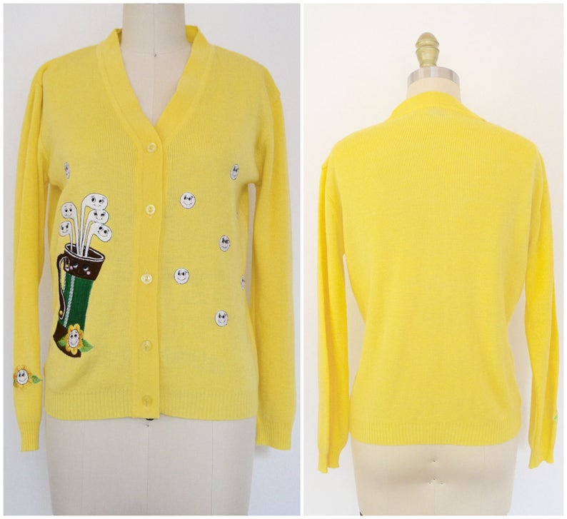 e78091886a8 Vintage Yellow Sweater  60s 70s Preppy Embroidered Novelty