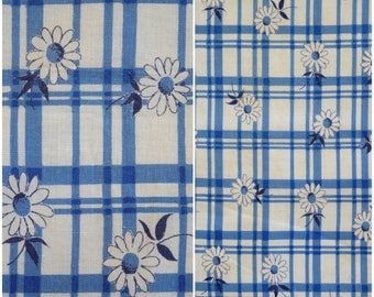"""Blue Plaid Feedsack Fabric / 1940s 50s Vintage Daisy Print Full Flour Sack/ Floral Farmhouse Cottage/ Quilting & Sewing Fabric: 45.5""""x 37.5"""""""