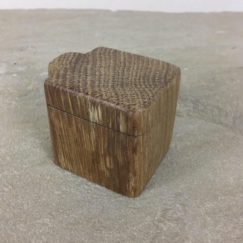 Wooden Ring Box Unique Rustic Hinged Oak