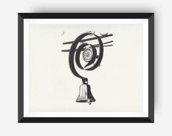 Downton Abbey Servant's Bell: Vintage Art Print, Wall Decor, Black and White