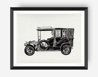Downton Abbey 1911 Renault Landaulette: Vintage Art Print, Black and White Art Wall Decor